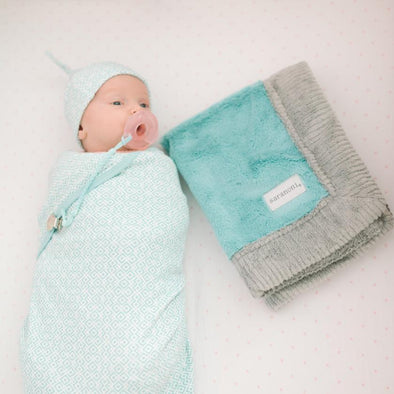 Saranoni Lush Mini Blanket in Aqua Gray