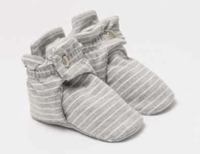 Grey Stripe Snap Bootie