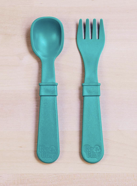 Re-Play Utensil Pair in Teal