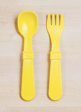 Re-Play Utensil Pair in Yellow