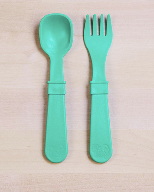 Re-Play Utensil Pair in Aqua