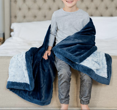 Saranoni Lush Swirl Receiving Blanket in Lt Blue/Navy