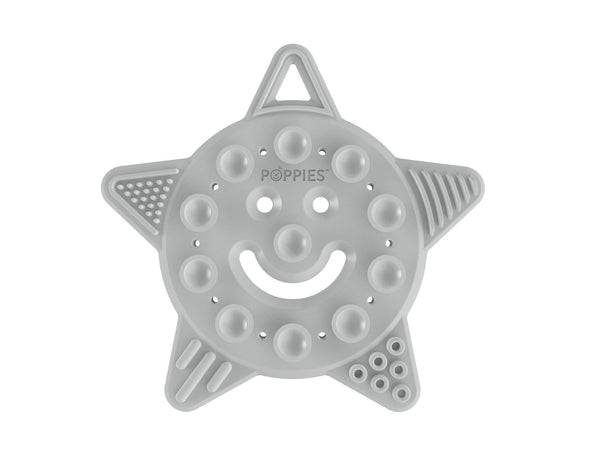 Poppies Smiley the Star Teether Grey