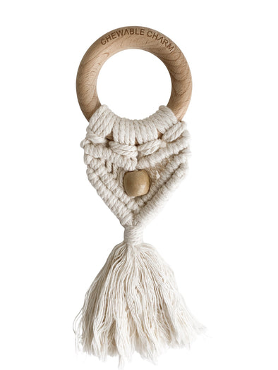 Chewable Charm Celeste Macrame Teether in Cream