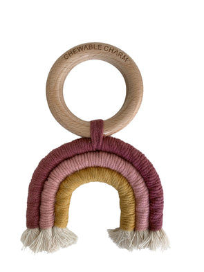 Chewable Charm Rainbow Macrame Teether in Berry + Mustard