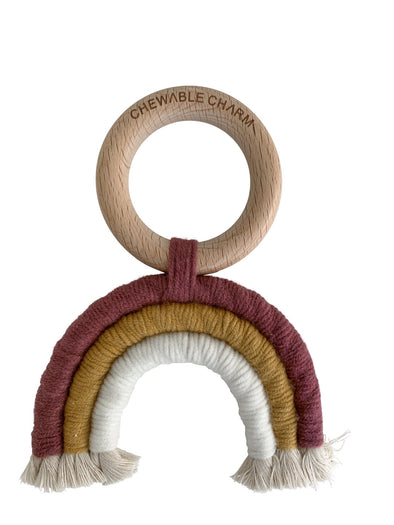 Chewable Charm Rainbow Macrame Teether in Berry + White