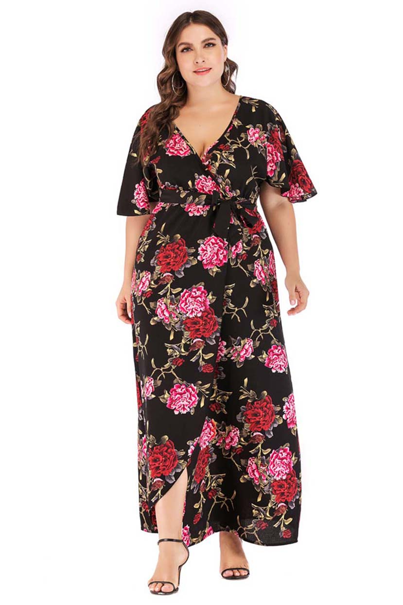 Blooming Flowers Wrap Style Dress