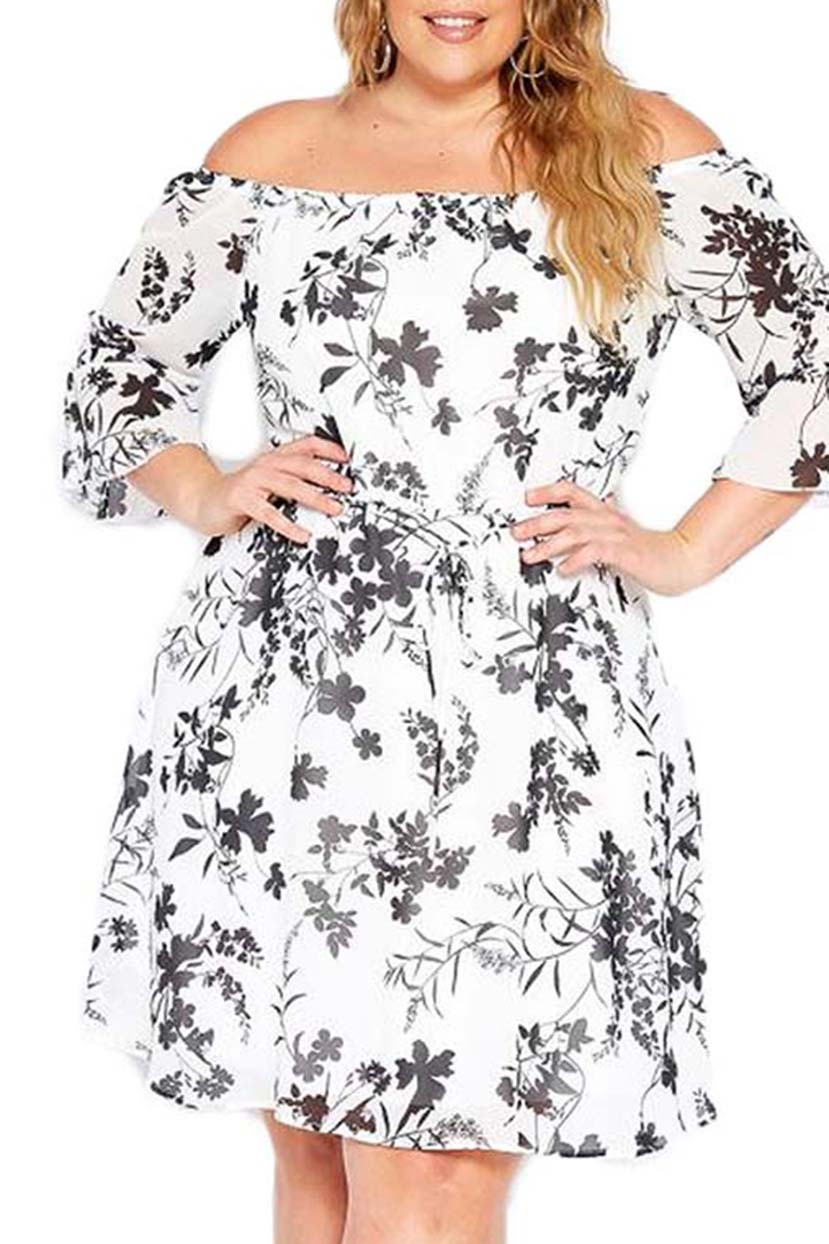 Off-Shoulder Vintage Flower Dress