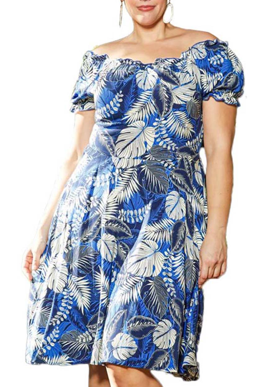 Off-Shoulder Tropical Dress