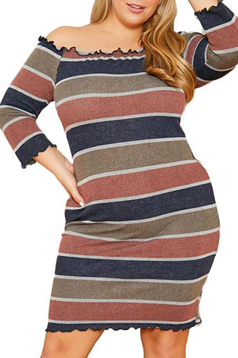 Cozy Knit Stripe Printed Dress