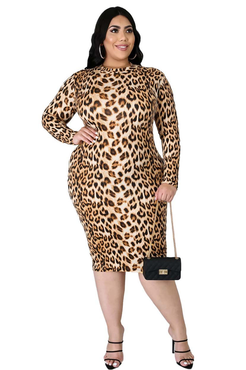 Animal Printed Fitted Dress