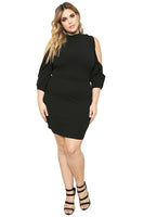 Plus Size Cold Shoulder Sleeves Short Club Dress