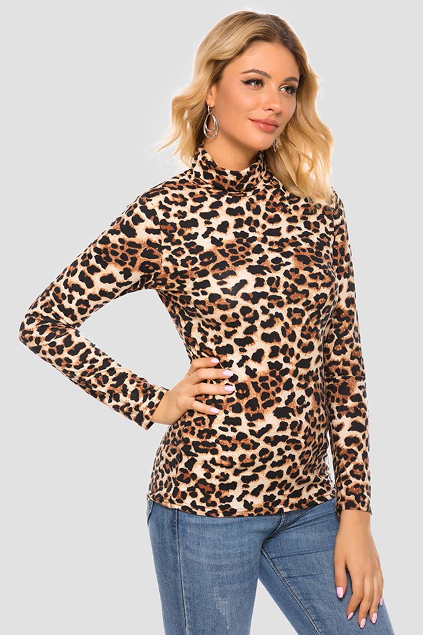 Leopard Print High Neck T.Shirt