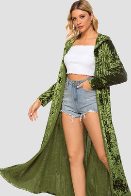 Windbreaker Crushed Velvet Long Coat Cardigan