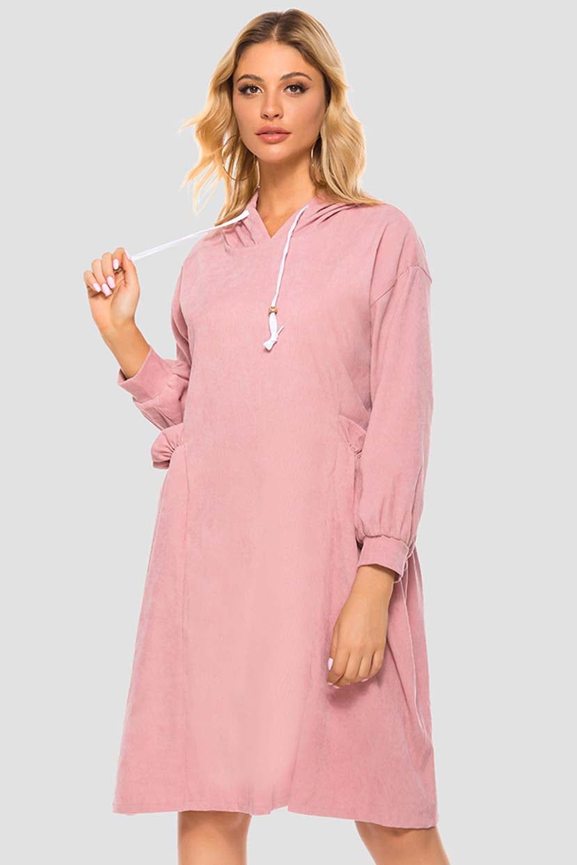 Solid Color Winter Hoodie Dress