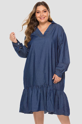 Casual Tunic Dress Frilled Single Tier