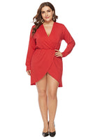 Plus Size Short Wrap Elasticized Waistline Dress