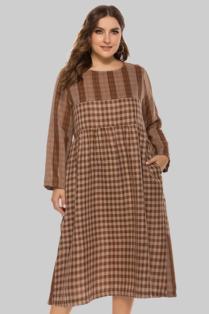 Victorian Plus Size Dresses | Edwardian Clothing, Costumes Trendy Checks N Plaid Casual Dress $60.99 AT vintagedancer.com