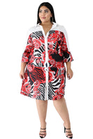 Plus Size Above the Knee Animal Zebra Floral Print Dress