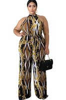 Plus Size Halter Sheer Back Zipper General Print Jumpsuit