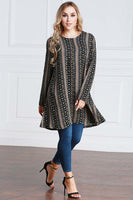 Plus Size Striped Print Tunic
