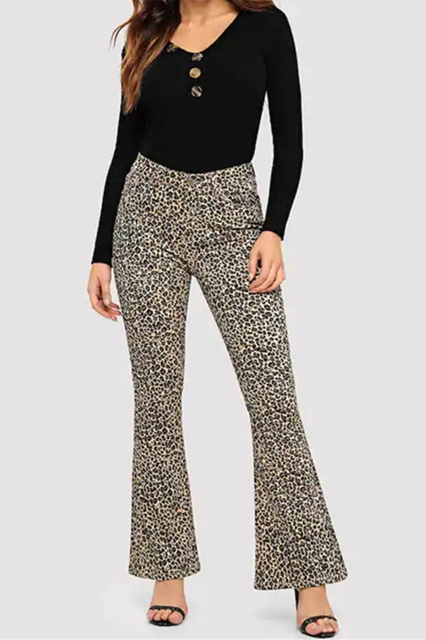 Vintage High Waisted Trousers, Sailor Pants, Jeans Cheetah Printed Flared Jeans $59.99 AT vintagedancer.com