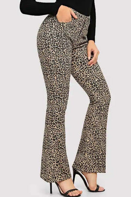 Cheetah Printed Flared Jeans