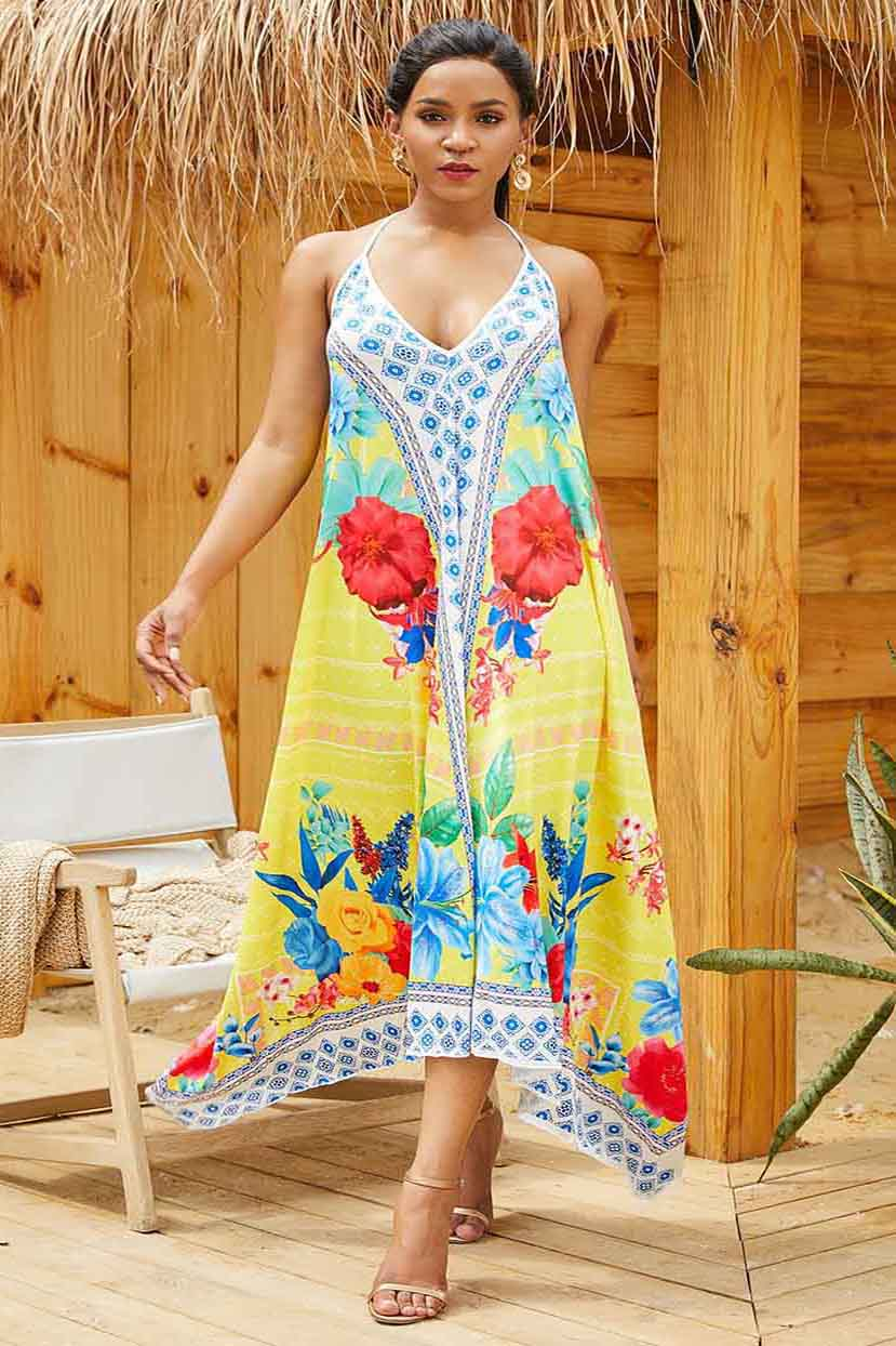 Border 'N' Bouquet Print Dress