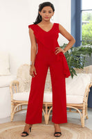Plus Size Sleeveless Jumpsuit With Ruffles