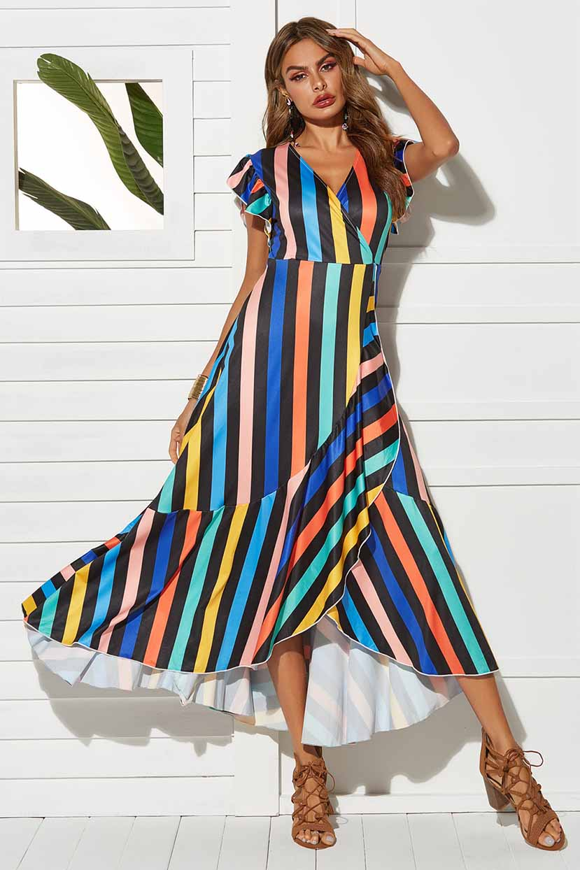 Multi Colored Striped Ruffled Cross Over Dress