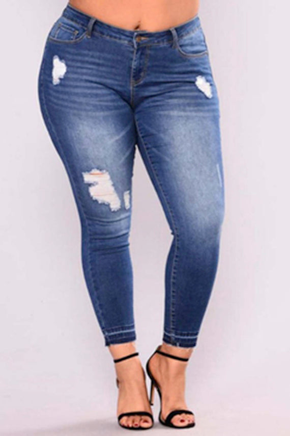 Tattered stretchable jeans