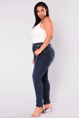 Basic High Waist Stone Washed Jeans