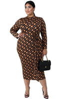 Plus Size Geometric Print Fitted Midi Dress