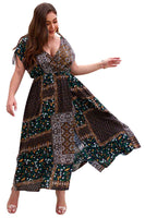 Plus Size General Print Wrap Dress