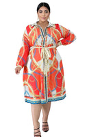 Plus Size Long Sleeves General Print Tunic