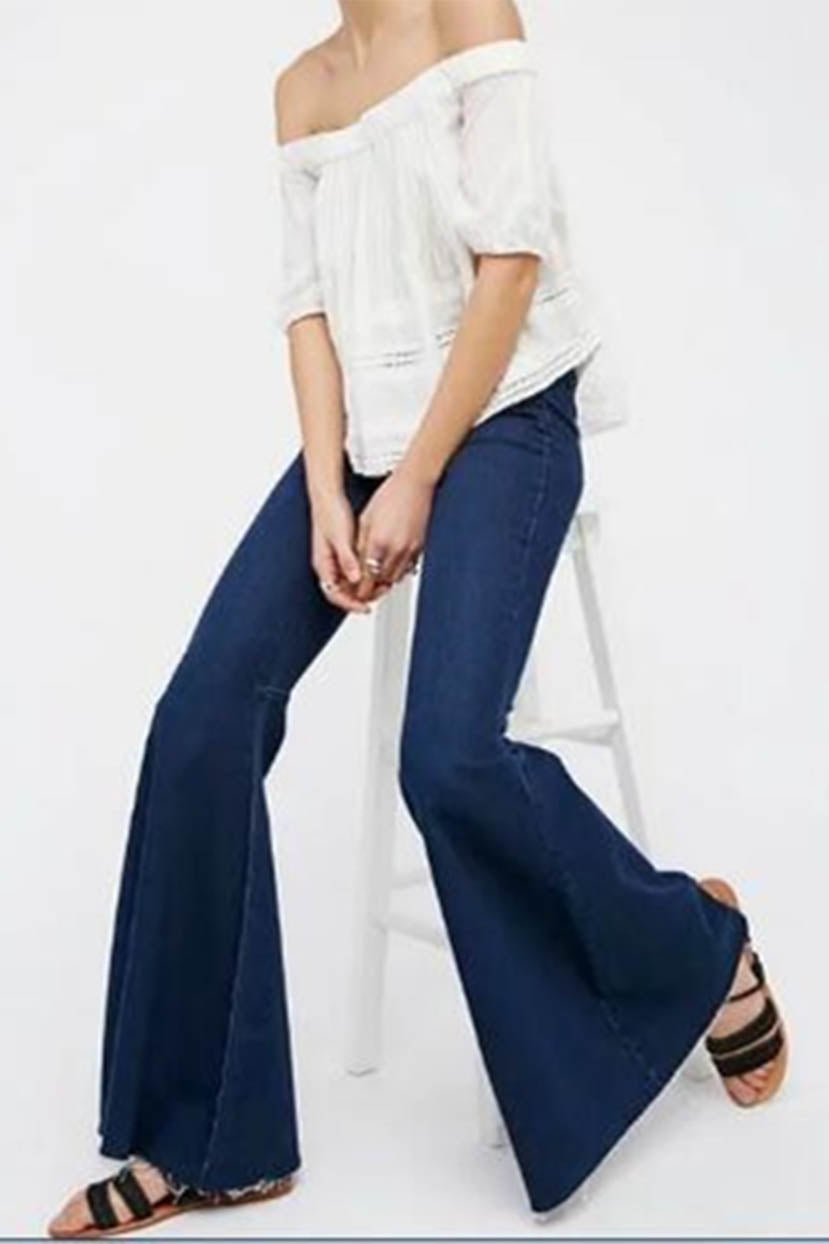 Vintage High Waisted Trousers, Sailor Pants, Jeans Extra Flared Bottom Denim $59.99 AT vintagedancer.com