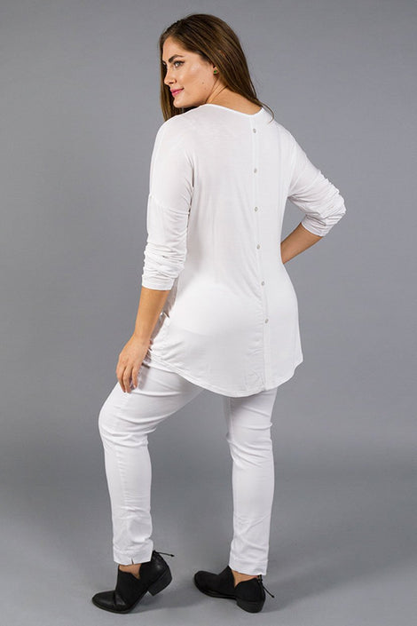 Basic Soft Viscose Jersey Top with button detail