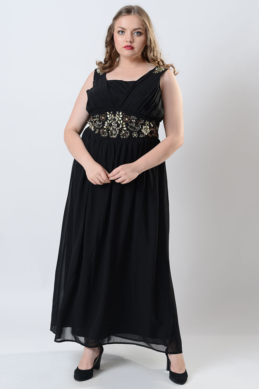 1940s Plus Size Dresses | Swing Dress, Tea Dress Black Hand Embroidered Halter Maxi Dress $69.99 AT vintagedancer.com