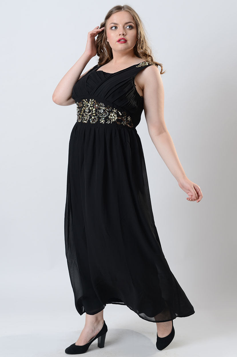 Black Hand Embroidered Halter Maxi Dress
