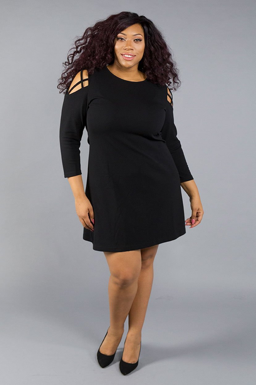 Plus Size Cocktail Cold Shoulder Sleeves Back Zipper Mesh Little Black Dress