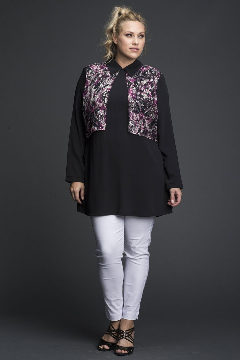 Plus Size Collared Lace Floral Print Back Zipper Tunic
