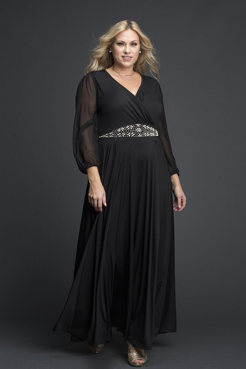 1950s Plus Size Dresses, Swing Dresses Black Maxi Shimmer Embroidered Waist Accent Lycra Dress $49.99 AT vintagedancer.com