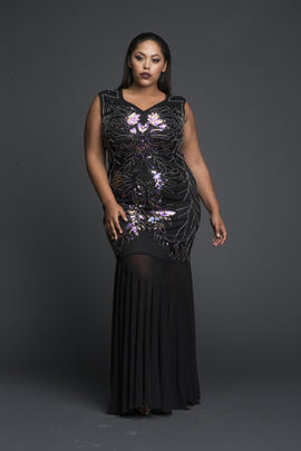 Net Sequined Dress with Flair bottom