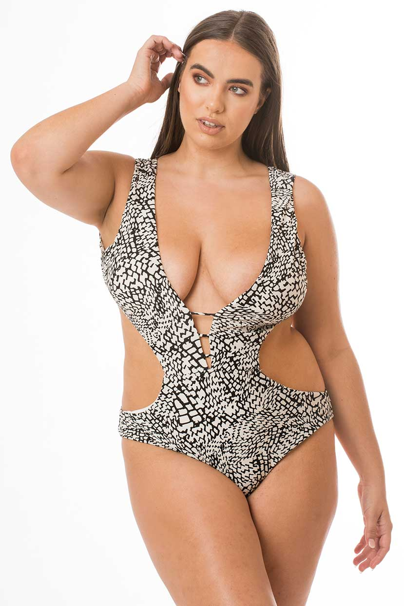 Black and White Patterned Backless One Piece