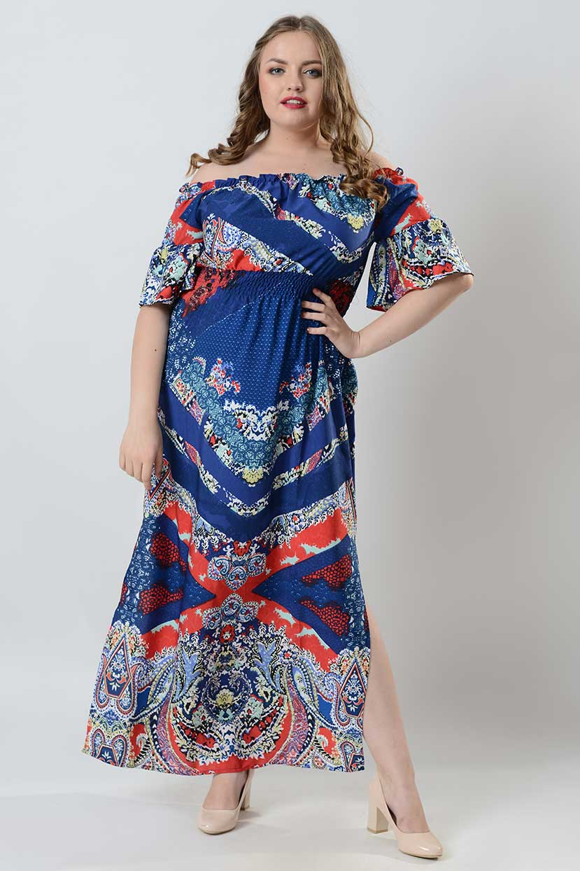 Blue Printed crepe Off-shoulder Maxi Dress