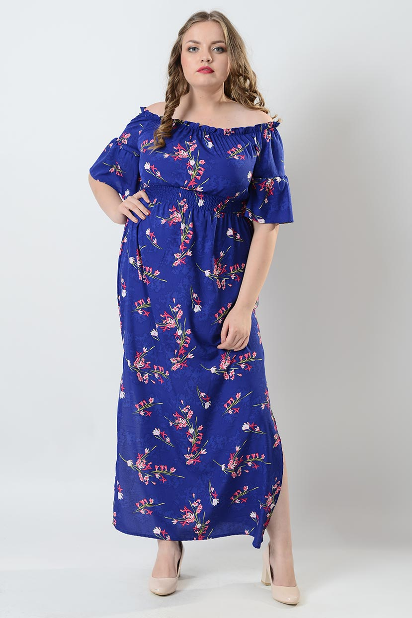 Blue Printed leaf crepe Off-shoulder Maxi Dress