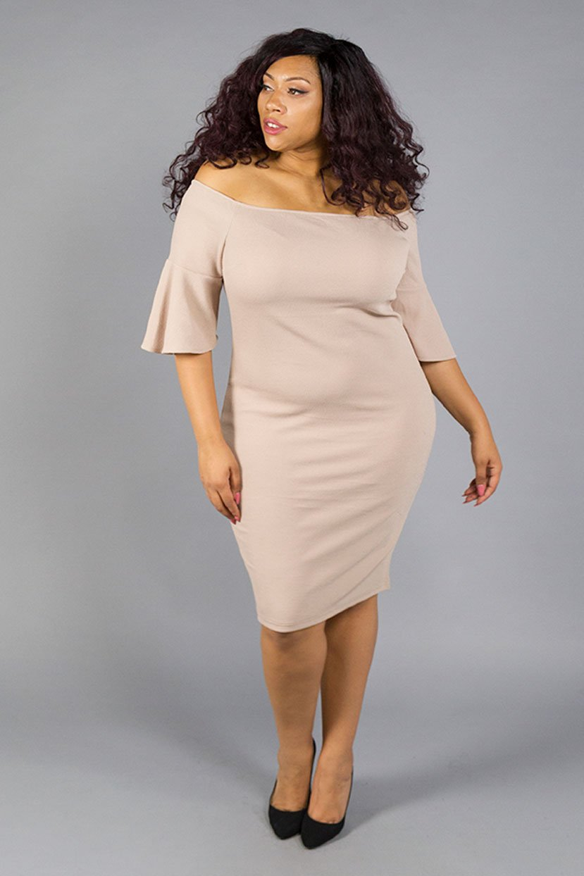 Plus Size Slit Bateau Neck Jersey Midi Dress With Ruffles