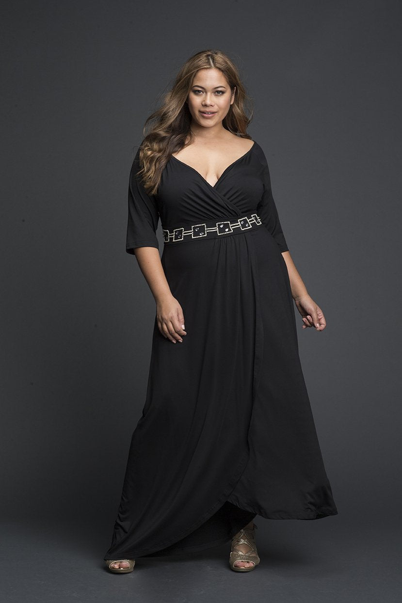 60s 70s Plus Size Dresses, Clothing, Costumes Boat Overlap Neck Black Maxi Dress $49.99 AT vintagedancer.com