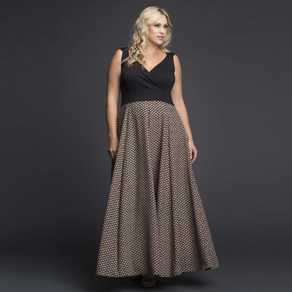 Black Lycra Maxi Dress with Printed Skirt