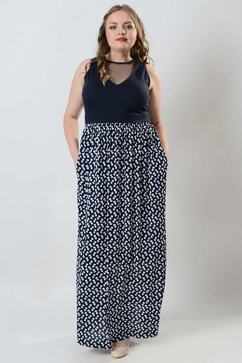 Dark Blue Sleeveless printed jersey maxi dress